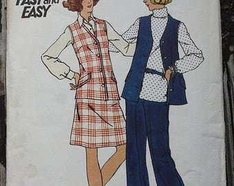 60off Sale Butterick 3618  1970s 70s Vest Pants Skirt Vintage Sewing Pattern Size 12 Bust 34