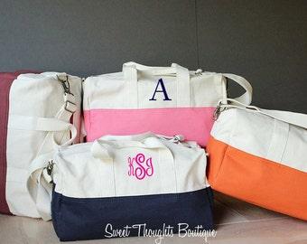 Monogrammed Small Duffel Bag, Personalized Duffel Bag, Canvas Duffel Bag, Overnight Bag, Monogrammed Travel Duffel, Monogram Luggage