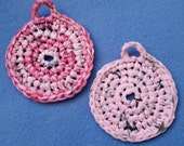 Two Plarn Dish Scrubbies, pale pink and hot pink, upcycled recycled plastic bags, dish scrubby pot scrubber