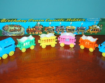 VINTAGE Birthday CIRCUS TRAIN Candle Holders. Complete in Original Box