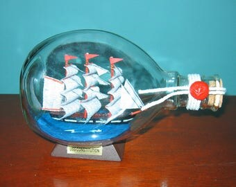 "Ship in a Bottle USS CONSTITUTION Dimple Bottle 6 1/2"" Long"