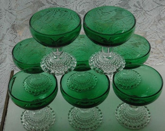 Vintage Set of 8 Gently Used Anchor Glassware Forest Green With Bubble Feet Desserts/Sherbets- FREE SHIPPING