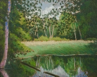 """Original Impressionist style Pastel Painting 8x10 """"Pool in the Woods"""""""