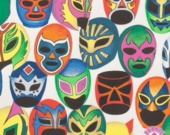 140124964 -Alexander Henry Mascaras de Pelea Wrestler Mask Cotton Fabric By The Yard