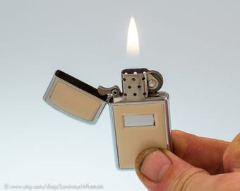 Working Vintage Genuine Zippo Slim Ultralite Pocket Lighter