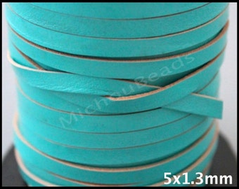 1 Yard 5mm FLAT Leather Cord - Turquoise Genuine NATURAL Indian Leather Lace Cord for Wrap Bracelet -  3 Feet Wholesale - Natural Edges