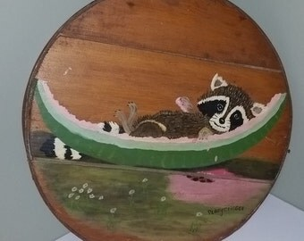 Vintage Raccoon painting on round wood cheese box lid rustic primitive home decor