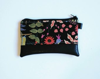 Black floral rifle paper coin purse with black faux leather