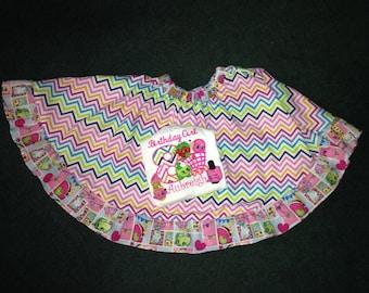 Custom made Shopkin  SHIRT AND SKIRT  outfit Twirly skirt chevron
