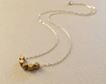 Gold Bead Necklace -Faceted Gold Bead Necklace in Sterling Silver -Mixed Metal Necklace