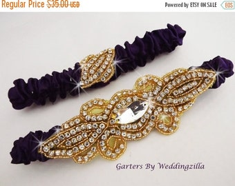 SALE Purple- Gold Wedding Garter Set,  Gold Crystal Rhinestone Garter, LSU Team Garter