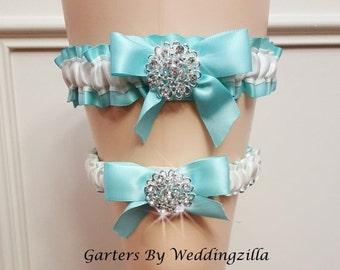 SALE Aqua Wedding Garter Set,  Aqua and White Bridal Garter Set, Aqua Wedding Garter Belt, Satin Garters
