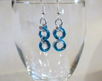 Turquoise Rosebud Chainmaille Earrings