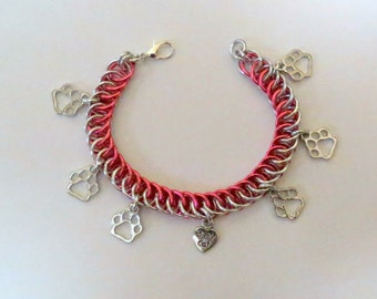 Charm Bracelet - I love my Cat - 3/4 Persian Weave/Chainmaille Bracelet
