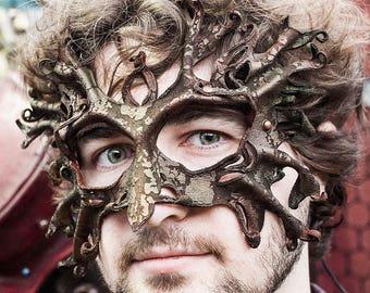 CUSTOM Made to Order | Oak Man Leather Mask | Ent | Tree Spirit | Elven | Woodland | Masquerade | OSFA | Hand Sculpted | Art Engraved