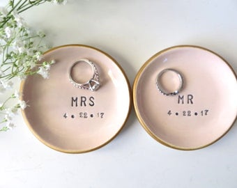 ring dish, wedding ring holder, Wedding Gift, Gift for Couple, Engagement Gift, Pink Pottery, Gold,  Personalized Wedding Pottery, ring bowl