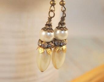 Elegant Pearl Earrings, Victorian Style Earrings , Brass and Pearl Dangle Earrings, Steampunk Pierced or Clip-on Earrings Handmade Earrings.