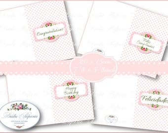 GREETING Card- ROMANTIC CHEEKY Style - Print,Cut & Fold-  Soft Colors -Instant Download