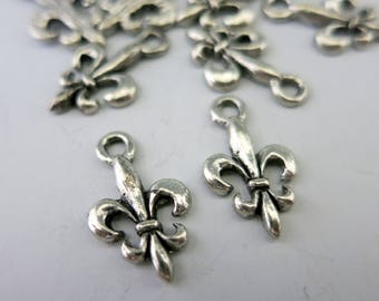Fleur de Lis Charms, Antique Pewter Charms, 10x17mm, Choose 6 or more, Ready to Ship, Made in USA