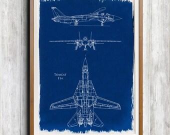 Gruman F-14 Tomcat A4 Hand coated traditionally made aeronautical Blueprint cyanotype