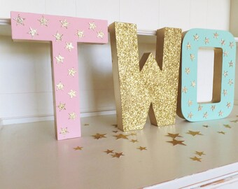 """Twinkle Star """"TWO"""" Free Standing Birthday Letters ~ Photo Prop ~ Set of Three 8"""" Table Decor ~ Gold  Glitter Stars, Pink & Mint"""