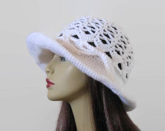 Crochet Sun Hat Floppy Summer Hat Crochet Beach Hat White Knit sunhat Crochet Spring Hat with wide Brim White Sunhat Floppy Hat Beach Hat