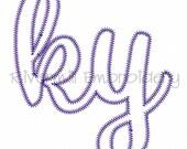 KY Kentucky Zig Zag Applique Machine Embroidery Design - 4 Sizes