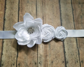 All white sash rosettes sash bridal maternity