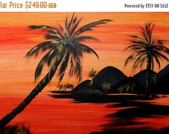 "SALE HUGE Oil Landscape painting Abstract Original Modern 48x30 ""Sunset Palms"" oil painting by Nicolette Vaughan Horner"