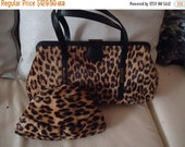 Christmas Sale 1960's Vintage Leopard Faux Fur Handbag & Matching Hat Retro Rockabilly Mid Century Purse Old Hollywood Regency Glamour Style