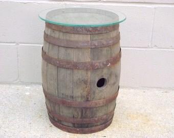 Amazing Antique Wood Whiskey Barrel Table   Wooden Keg Glass Top   Repurposed  Rustic Primitive   Garden