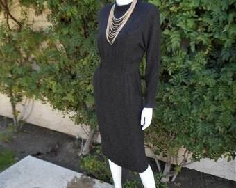 Vintage 1980's Brown/Black Print Dress - Size 8