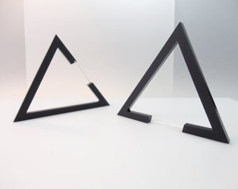 Hecker | Big Black Triangle Earrings | Black Triangles | Stud Triangle Earrings | Handmade with Love in Rome By Plexi Shock
