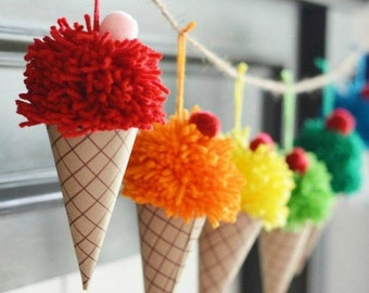 Ice Cream Party Banner Pom Pom Garland Pom Poms Bunting  Ice Cream Party Decoration Birthday Banner Rainbow Party Yarn Poms Ice Cream Cones
