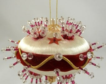 Sequin Beaded Christmas Ornament Sputnik Deluxe Ornate Large 60s 70s Madmen Kitsch Retro Holiday Decor Beads Satin Red #6