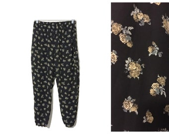 Black Floral Print Slightly Sheer 90s inspired High Waist Elastic Waist Pants