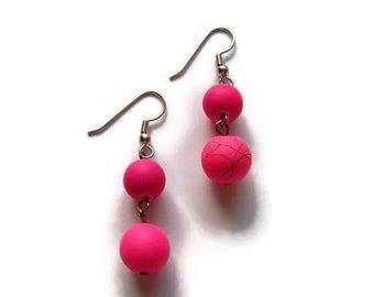 CLEARANCE...Pink Rubber Glass Earrings