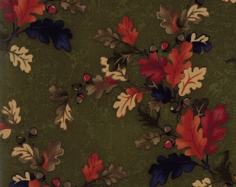 OAK HAVEN moda fabric by 1/2 yard Kansas Troubles Quilter-red tan navy leaves acorns on green 9520-15