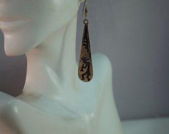Hopi Inspired Golden Eagle Trading Company Kokopelli Sterling Drop Earrings