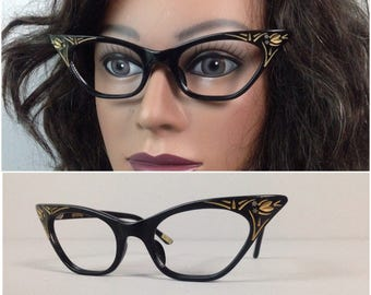 Vintage 1950s Black with Gold Floral Inlay Cat Eye Glasses No lens / Women's XS / France Pinup Rockabilly Retro Eyeglasses Frames