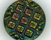 Vintage Black Glass Sewing Button with All-Over Diaper Quilt Pattern ~ 3/4 inch 19mm ~ Iridescent Carnival Luster