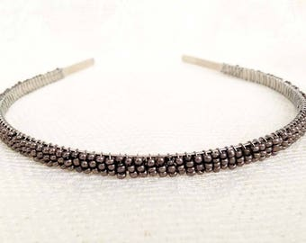 Metallic Pewter Beaded Headband Tiara - Alice Hair Band (Limited Edition Color)