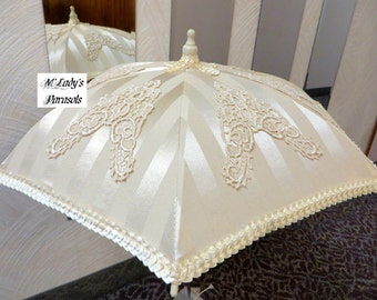 VICTORIAN PARASOL Umbrella in Ivory Damask Stripe Satin Embellished with Embroidered Appliques and Tucked Satin Trim Bridal Flower Girl Prom