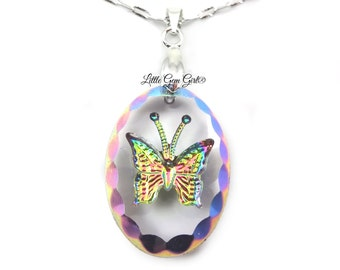 Oval Butterfly Necklace - Rainbow Butterfly Pendant - 182x25mm Engraved Butterfly Charm - Crystal Butterfly Necklace with Sterling Chain Opt