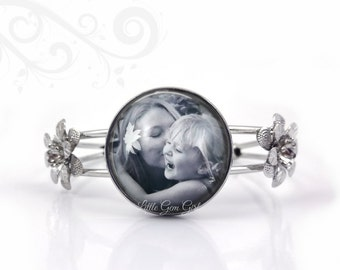Personalized Photo Bracelet - Silver Flower Cuff Bangle Bracelet - Custom Picture Memorial Jewelry - Mother's Day Gift