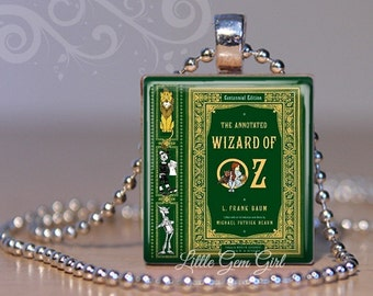 Wizard of Oz Vintage Book Cover Necklace Pendant - Dorothy Tin Man Lion Scarecrow Scrabble Charm