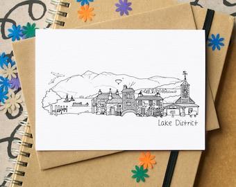 Lake District Landmarks Greetings Card - Lake District Skyline Art - blank Lake District card - card for Cumbrian - Keswick greetings card