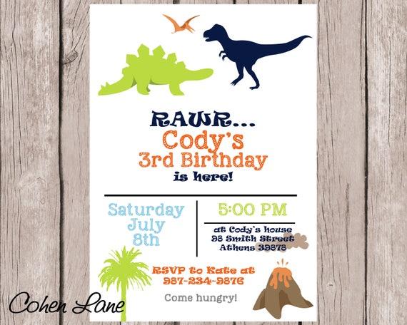 Printable Dinosaur Party Invitation Custom Birthday Invitations