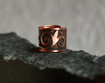 Curly - Etched Copper Ear Cuff  with Scroll Motif