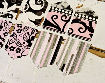 Pink Brown Gift Wrap Tags, Package Labels, Handmade Party Favor Tags, Tie Ons, Swing Tags, Set of 8 itsyourcountry